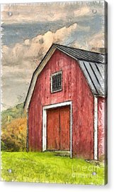 New England Red Barn Pencil Acrylic Print by Edward Fielding