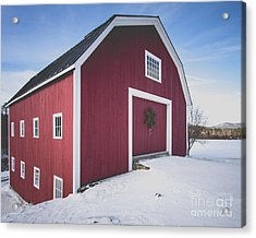 Acrylic Print featuring the photograph New England Red Barn Winter Orford by Edward Fielding