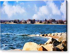 New England Shoreline - Painterly Acrylic Print by Judy Palkimas