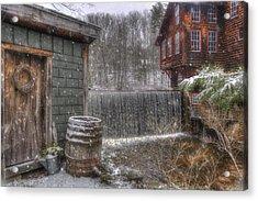 New England Snow Scenes - Frye's Measure Mill - Wilton, Nh Acrylic Print by Joann Vitali