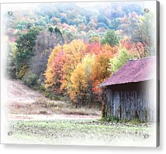 New England Tobacco Barn In Watercolor Acrylic Print by Smilin Eyes  Treasures