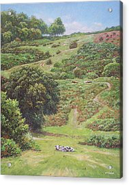 Acrylic Print featuring the painting New Forest Hill With Cows And Horses by Martin Davey