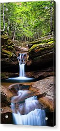 Acrylic Print featuring the photograph New Hampshire Sabbaday Falls And Fall Foliage Panorama by Ranjay Mitra