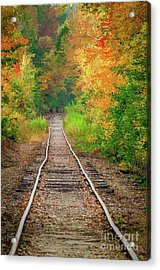 New Hampshire Train Tracks To Foliage Acrylic Print