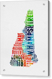 New Hampshire Watercolor Word Map Acrylic Print by Naxart Studio