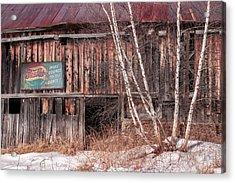 New Hampshire Winter Barn Acrylic Print by Thomas Schoeller