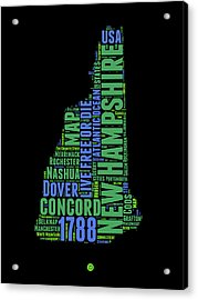 New Hampshire Word Cloud Map 1 Acrylic Print by Naxart Studio