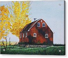 New Hartford Barn Acrylic Print by Sharon Farber