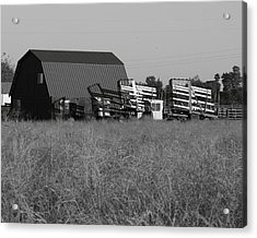 New Holland Bale Wagons Acrylic Print by Troy Montemayor