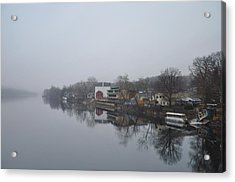New Hope River View On A Misty Day Acrylic Print by Bill Cannon