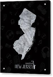 New Jersey Map Music Notes 2 Acrylic Print
