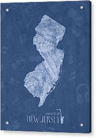 New Jersey Map Music Notes 5 Acrylic Print