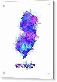 New Jersey Map Watercolor 2 Acrylic Print