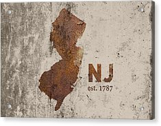 New Jersey State Map Industrial Rusted Metal On Cement Wall With Founding Date Series 026 Acrylic Print by Design Turnpike