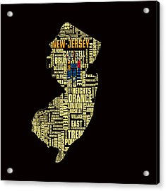 New Jersey Typographic Map 4g Acrylic Print