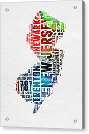 New Jersey Watercolor Word Cloud  Acrylic Print