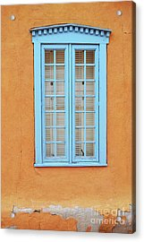Acrylic Print featuring the photograph New Mexico Blue Window by Andrea Hazel Ihlefeld