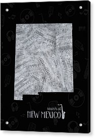 New Mexico Map Music Notes 2 Acrylic Print