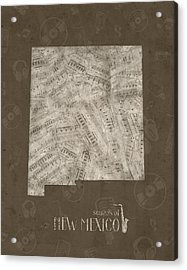 New Mexico Map Music Notes 3 Acrylic Print