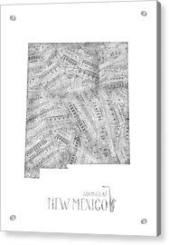 New Mexico Map Music Notes Acrylic Print