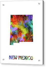 New Mexico Map Watercolor Acrylic Print