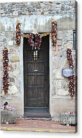 Acrylic Print featuring the photograph New Mexico Red Chili Ristras Door by Andrea Hazel Ihlefeld