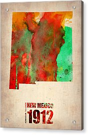 New Mexico Watercolor Map Acrylic Print by Naxart Studio