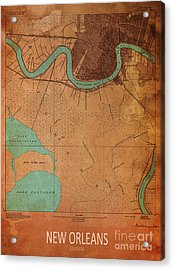 New Orleans 1891 Map Acrylic Print