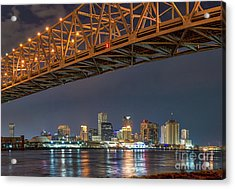 New Orleans Bridge And Skyline Acrylic Print by Tod and Cynthia Grubbs