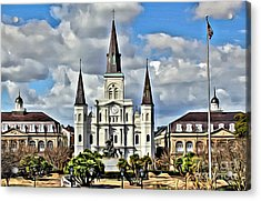 New Orleans Church Acrylic Print by Carey Chen