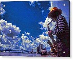 New Orleans Jazzman Acrylic Print by Dennis Cox