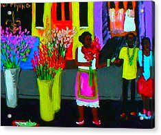 New Orleans Lady Selling Flowers Acrylic Print by Angela Annas
