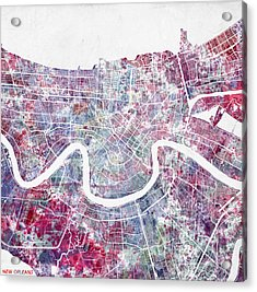 New Orleans Map Painting 2 Acrylic Print by Map Map Maps