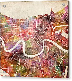 New Orleans Map Painting Acrylic Print by Map Map Maps