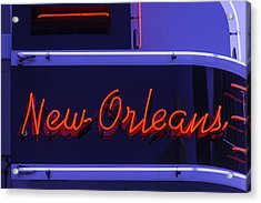 New Orleans Neon Acrylic Print by Garry Gay