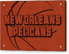 New Orleans Pelicans Leather Art Acrylic Print by Joe Hamilton