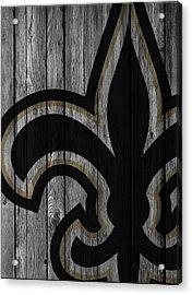 New Orleans Saints Wood Fence Acrylic Print by Joe Hamilton