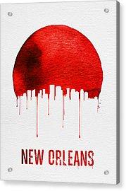 New Orleans Skyline Red Acrylic Print by Naxart Studio