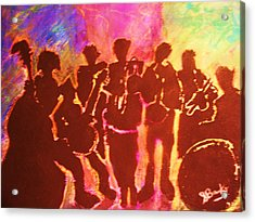 New Orleans Street Band At Sunset Acrylic Print by Samuel Banks