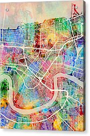 New Orleans Street Map Acrylic Print by Michael Tompsett