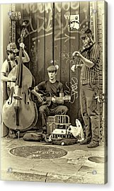 New Orleans Street Musicians - Paint Sepia Acrylic Print by Steve Harrington
