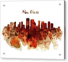 New Orleans Watercolor Skyline Acrylic Print by Marian Voicu