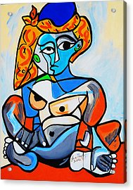 New  Picasso By Nora  Nude Woman With Turkish Bonnet Acrylic Print