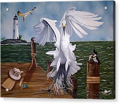 New Point Egret Acrylic Print by Debbie LaFrance