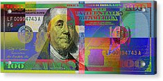 New Pop-colorized One Hundred Us Dollar Bill Acrylic Print by Serge Averbukh