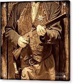 New Sheriff In Town Acrylic Print by American West Legend By Olivier Le Queinec