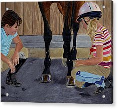 New Shoe Review Horse And Children Painting Acrylic Print