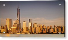 New World Trade Memorial Center And New York City Skyline Panorama Acrylic Print by Ranjay Mitra