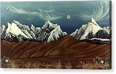 Acrylic Print featuring the painting New Years Moon Over Cojata Peru by Anastasia Savage Ealy