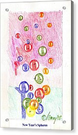 Acrylic Print featuring the drawing New Year's Spheres by Rod Ismay
